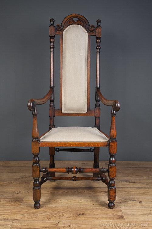 Jacobean Revival Open Arm High Back Chair  Antiques Atlas