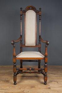 Jacobean Revival Open Arm High Back Chair - Antiques Atlas