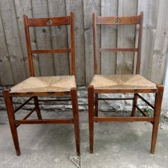 Oak Kitchen Chairs Island With Sink Antique Pair Rush Seat - Antiques Atlas