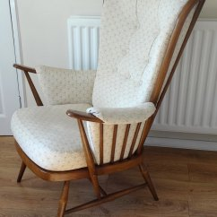Vintage Arm Chair Antique Rocking Leather Seat Antiques Atlas - Ercol Evergreen Armchair