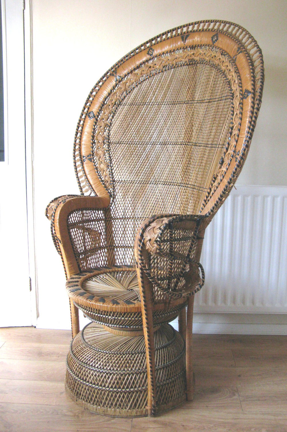 rattan arm chair hydraulic salon leaking oil antiques atlas - retro peacock