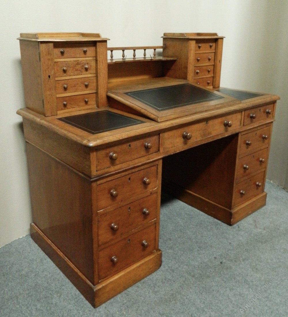 Victorian Oak Dickens Style Desk  Antiques Atlas