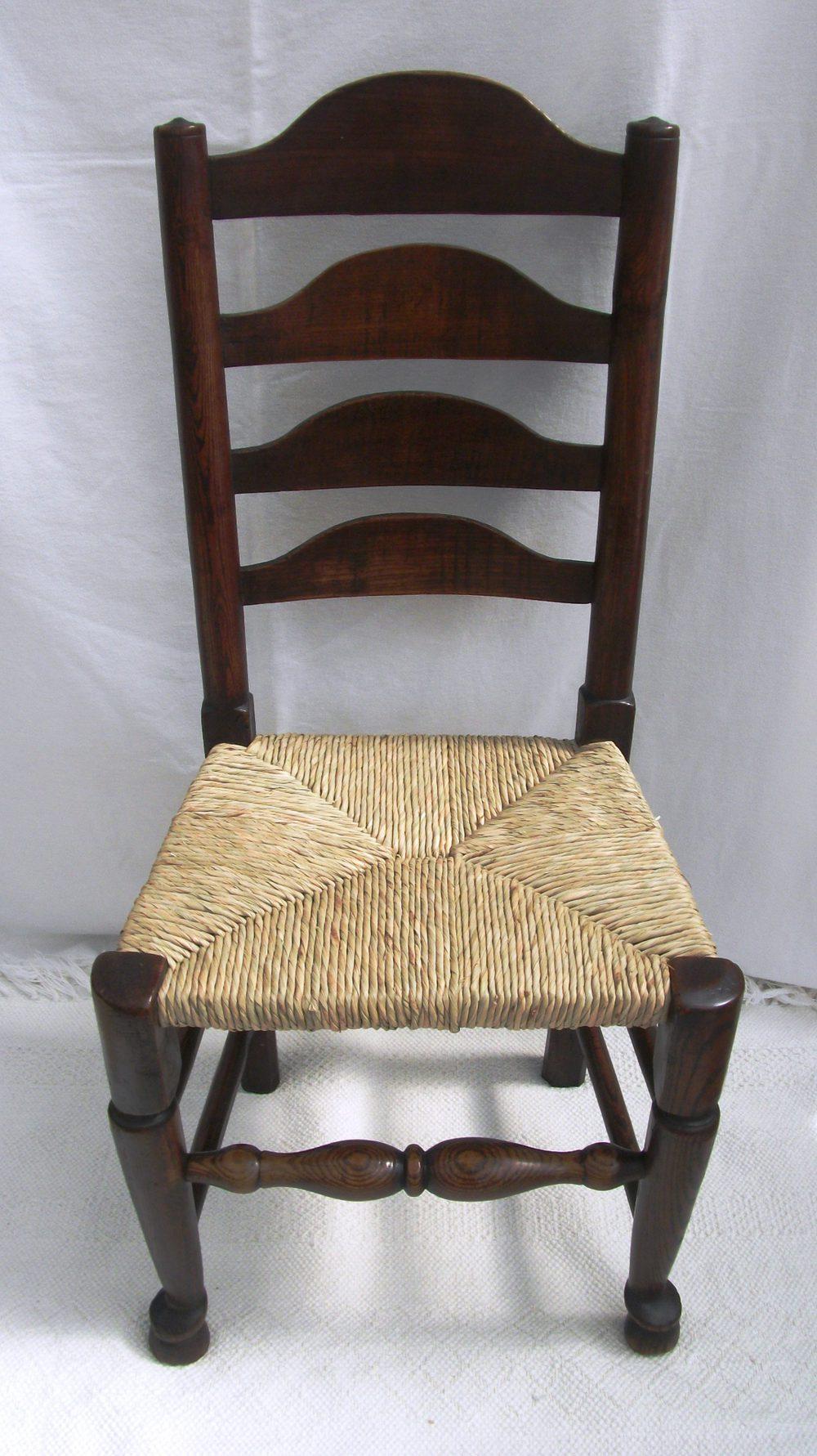 Antique Set Of 4 Lancashire Ladder Back Chairs  Antiques