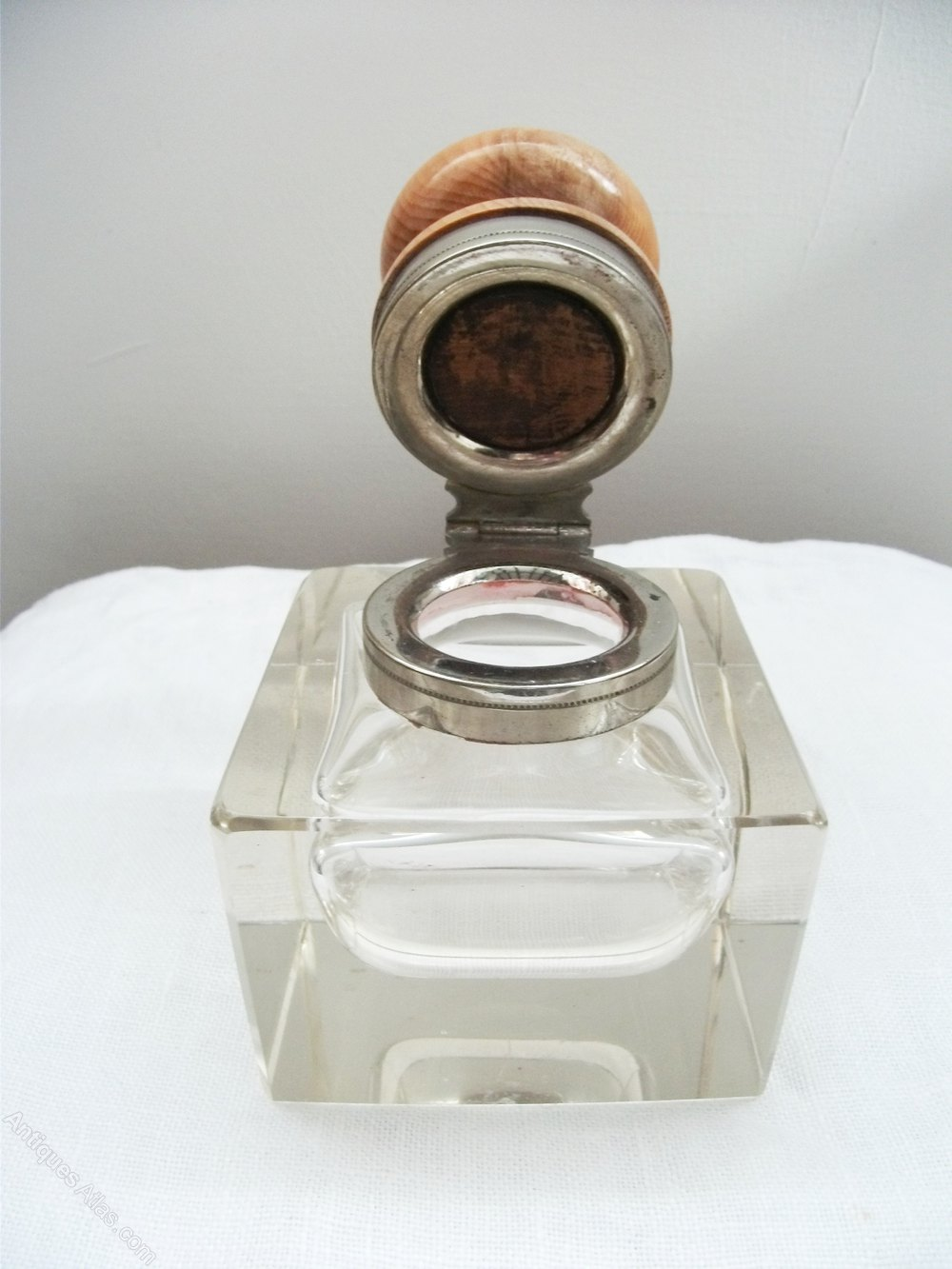 Antiques Atlas  Edwardian Glass Inkwell With Yew Wood Top