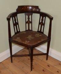 Art Nouveau Corner Chair, Mahogany. - Antiques Atlas