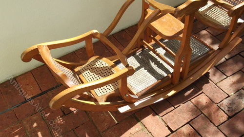 rocking chair cane leather arm antiques atlas - child's twin hamley's toys