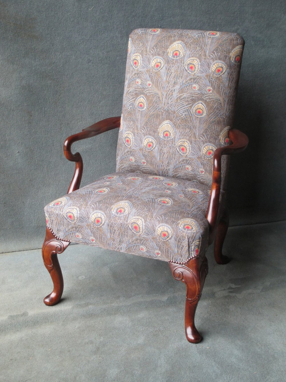 queen anne style chair long beach library in mahogany - antiques atlas