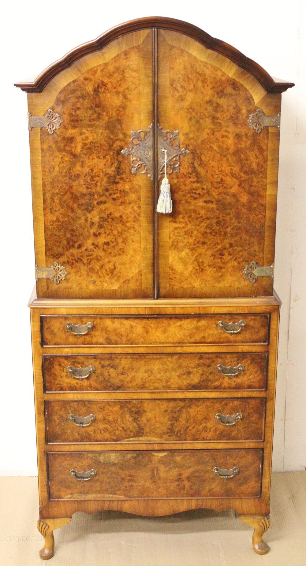 Queen Anne Style 4 Piece Burr Walnut Bedroom Suite  Antiques Atlas