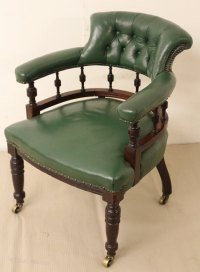 Victorian Leather Upholstered Desk Chair - Antiques Atlas