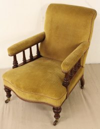 Victorian Walnut Upholstered Easy Chair - Antiques Atlas
