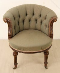 Victorian Walnut Upholstered Tub Chair - Antiques Atlas