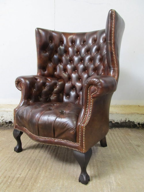 lounge chair living room furniture ethan allen tables antique leather chesterfield wing armchair - antiques atlas