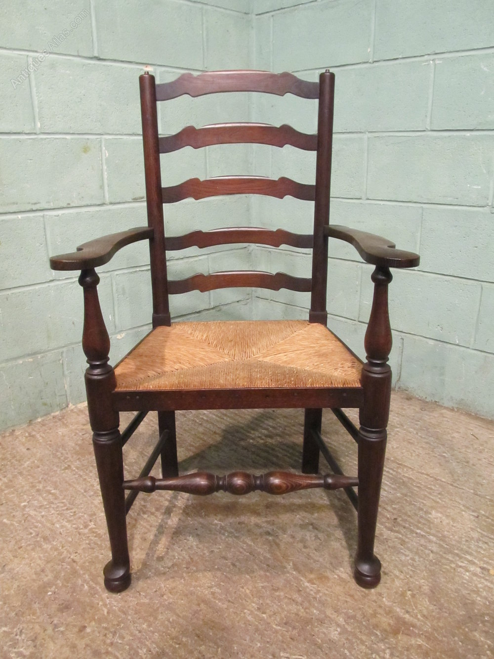 antique ladder back chairs with rush seats howard elliott puff chair victorian set six oak dining - antiques atlas