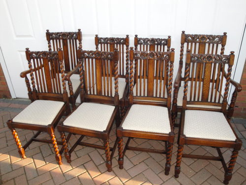 vintage wooden dining chairs round table with 4 set 8 antique oak antiques atlas