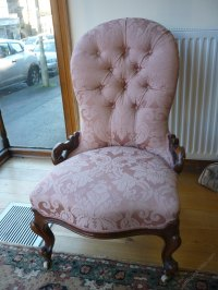 Victorian Nursing Chair, Salmon Pink Upholstery - Antiques ...