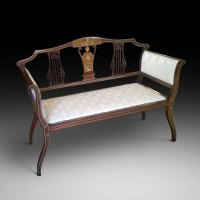 Edwardian Inlaid Mahogany Small Sofa - Antiques Atlas