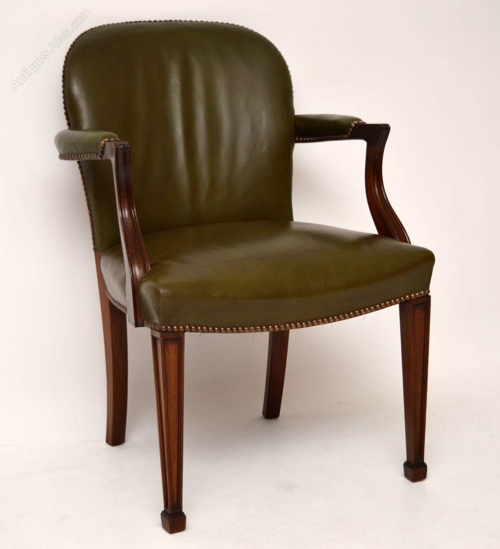 Antique Mahogany  Leather Desk Chair  Armchair