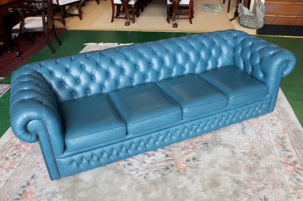 Antiques Atlas  Blue Leather Chesterfield Club Sofa