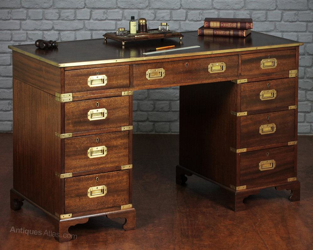 Antiques Atlas  Campaign Style Pedestal Desk
