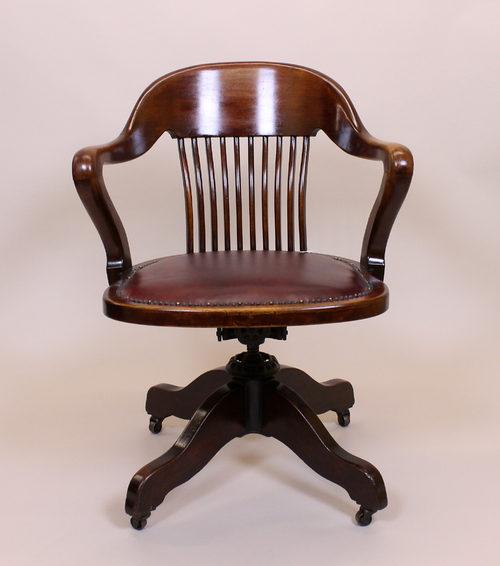 Edwardian Mahogany Office Desk Chair C1910  Antiques Atlas