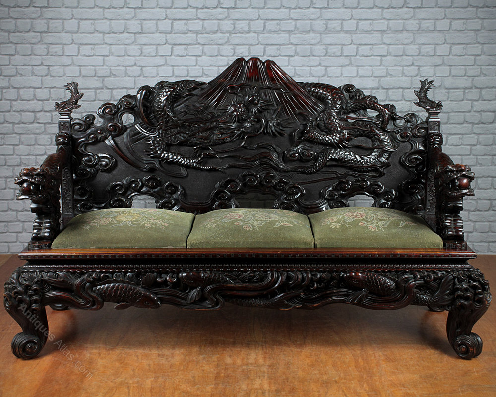 Japanese Carved Dragon Couch C1900  Antiques Atlas