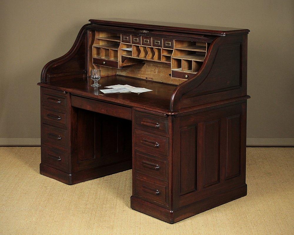 Large Walnut Roll Top Desk C1905  Antiques Atlas