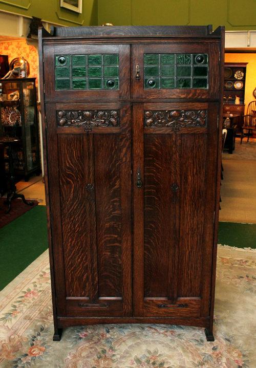 Liberty Style Arts And Crafts Oak Hall Wardrobe  Antiques