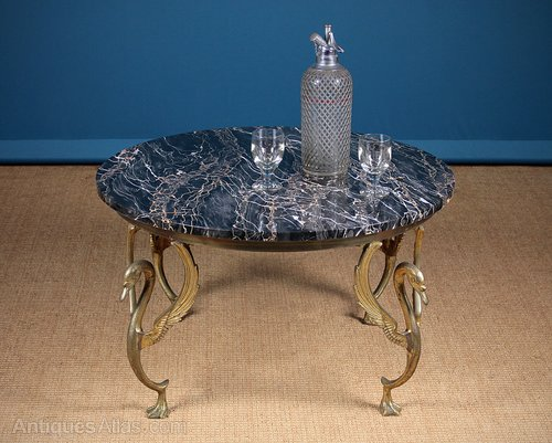 marble top coffee table with swan legs c 1950