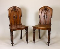 Pair Mid 19th.c. Gothic Oak Hall Chairs. - Antiques Atlas