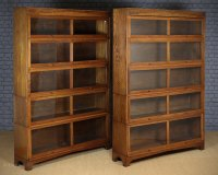 Pair Pale Oak Stacking Office Bookcases C.1930s