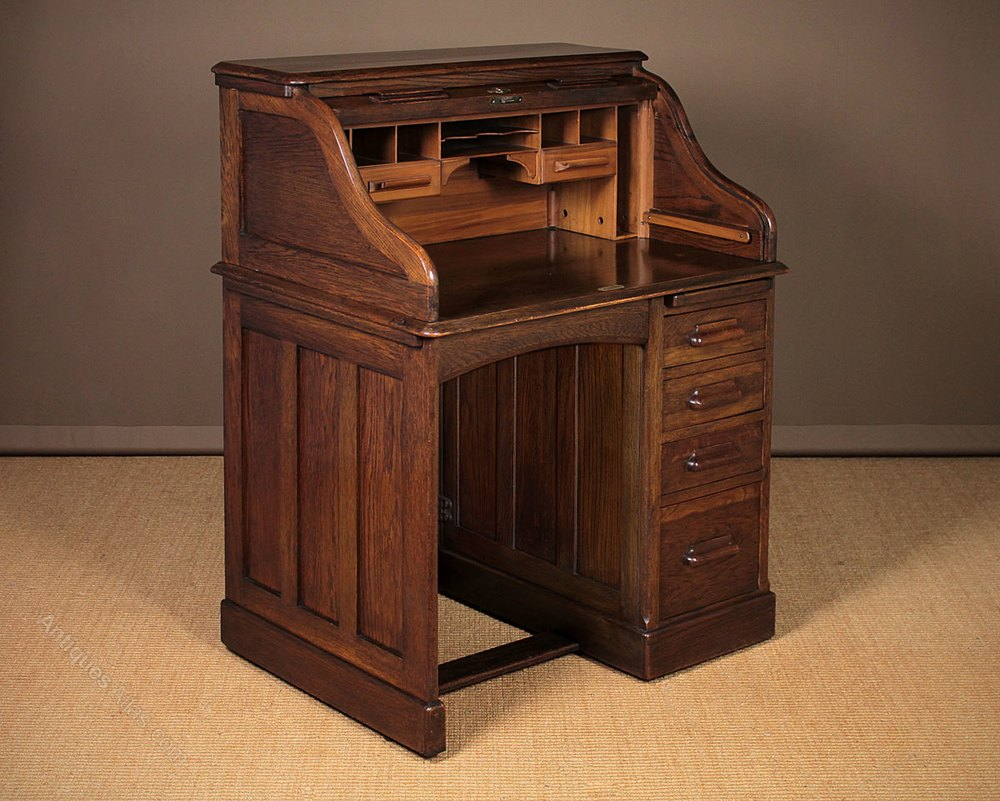 Small Oak Roll Top Desk By Lebus C1910  Antiques Atlas