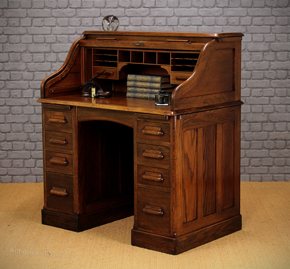 Small Oak Roll Top Desk C1920  Antiques Atlas