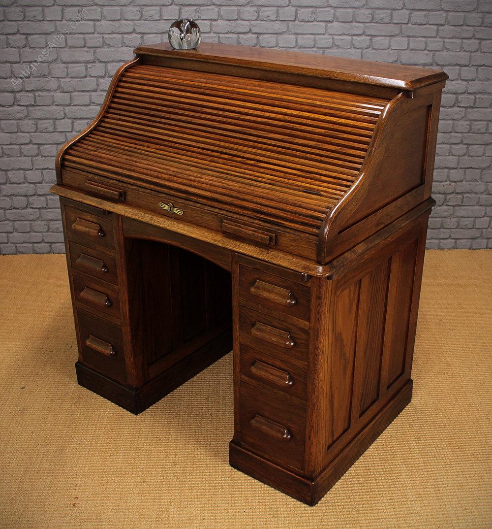 Small Oak Roll Top Desk C1920  Antiques Atlas