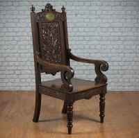 Welsh Carved Oak Literary Throne Chair. - Antiques Atlas