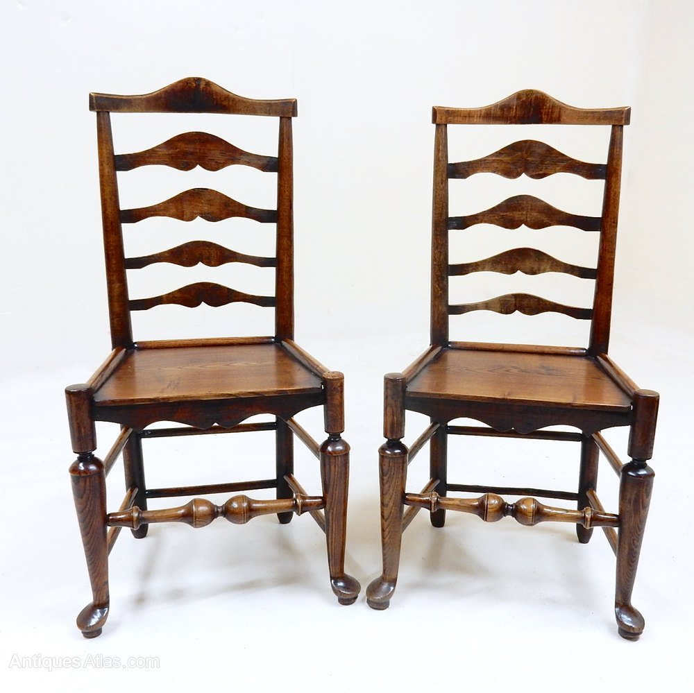 Pair Of Ladderback Chairs  Antiques Atlas