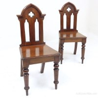 Pr Victorian Gothic Hall Chairs - Antiques Atlas