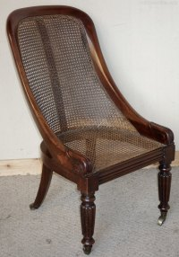 Early Victorian Mahogany Bergre Chair - Antiques Atlas