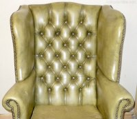 Antiques Atlas - Mahogany Leather Wing Armchair