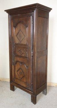 Narrow French Oak & Chestnut Armoire Wardrobe - Antiques Atlas