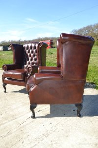 Antiques Atlas - Pair Of Leather Wing Chairs
