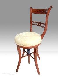 Rare Antique Painted Satinwood Music Chair - Antiques Atlas
