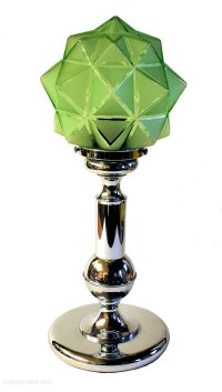 Antiques Atlas - Art Deco Glass And Chrome Table Lamp