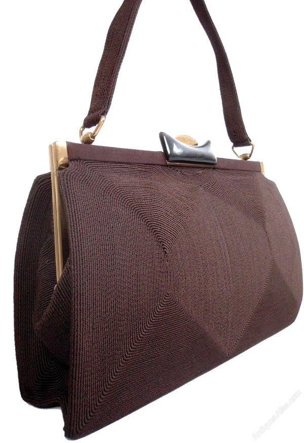 7a6de3382ea5 Canvas Tote Bag with Leather Handles. Antiques Atlas - English Art Deco  Vintage Cord And Lucite