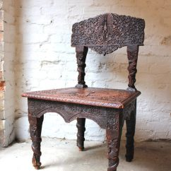 Small Arm Chair Office Chairs Chicago Fine 19thc Anglo-indian Carved Rosewood Side - Antiques Atlas