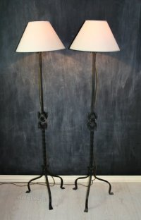 Antiques Atlas - Pair Vintage Wrought Iron Floor Lamps