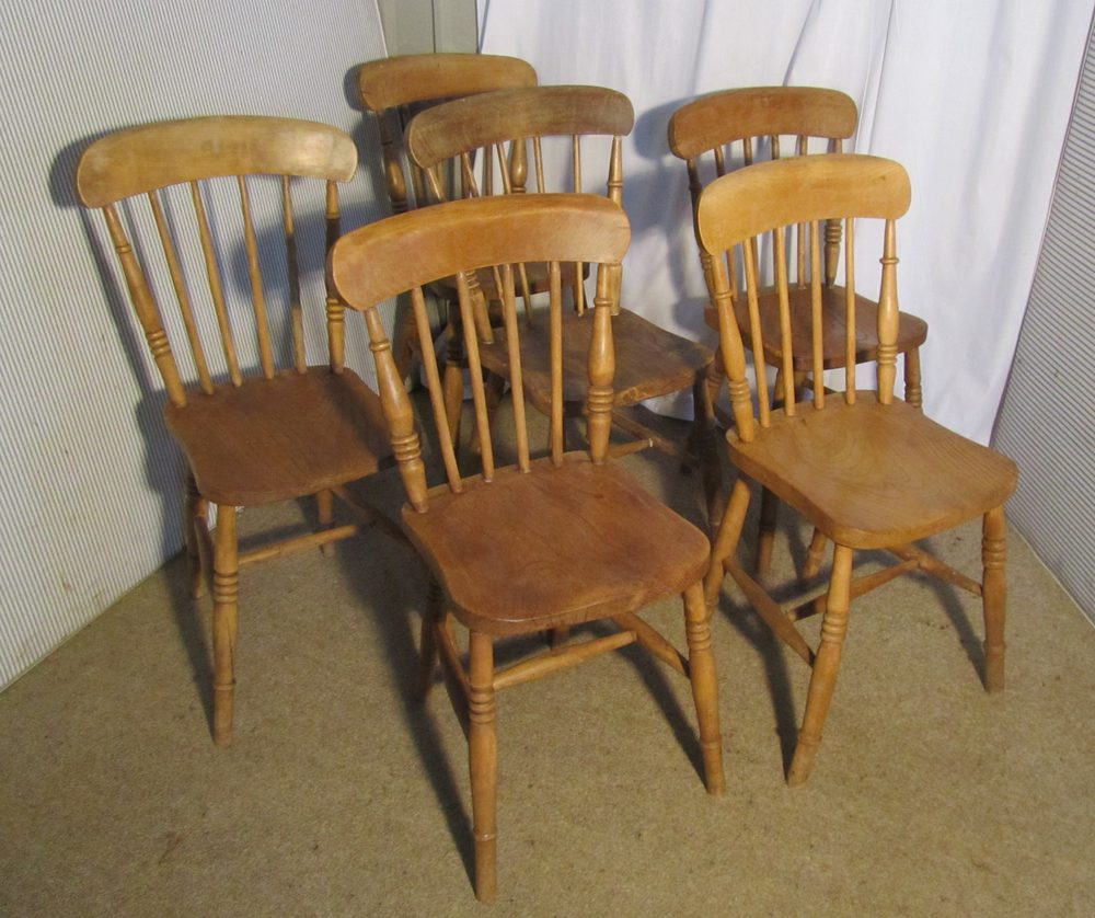 Kitchen Chairs Wood 6 Victorian Beech Elm Stick Back Kitchen Chairs Antiques Atlas