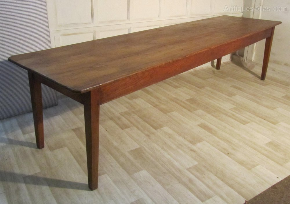 A Large French Pine Farmhouse Kitchen Table