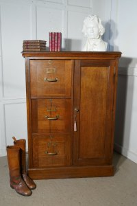 Large Edwardian Oak Filing Cabinet Office Cupboard ...