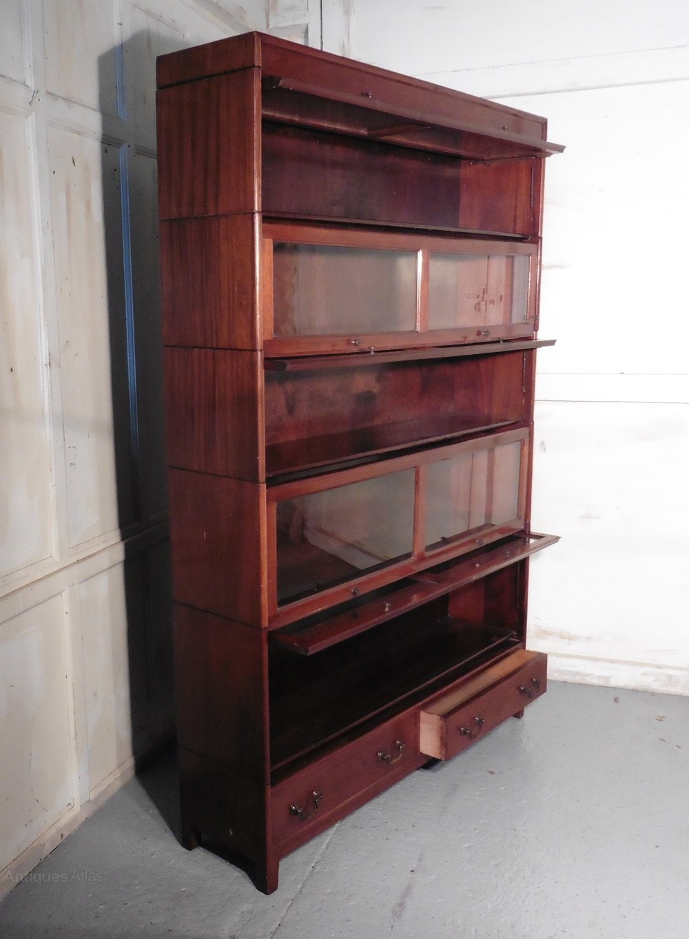 Large Mahogany Barristers Bookcase Filing Cabinet