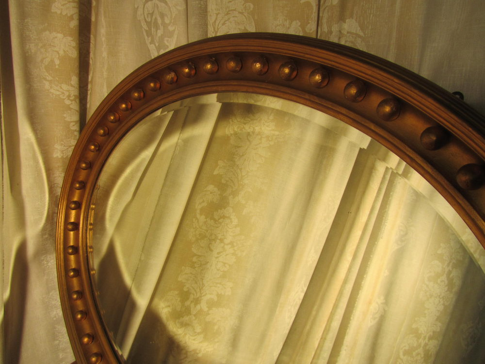 Large Regency Style Oval Gilt Wall Mirror